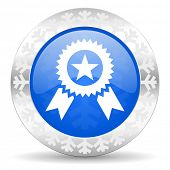 award blue icon, christmas button, prize sign