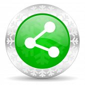 share green icon, christmas button