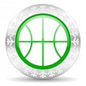 ball green icon, christmas button, basketball sign