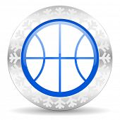ball blue icon, christmas button, basketball sign
