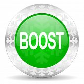 boost green icon, christmas button