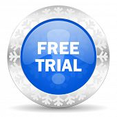 free trial blue icon, christmas button