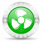 fan green icon, christmas button