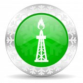 gas green icon, christmas button, oil sign