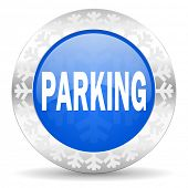 parking blue icon, christmas button