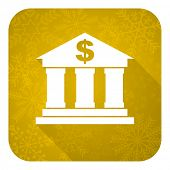 bank flat icon, gold christmas button