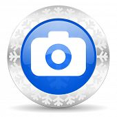 photo camera blue icon, christmas button, photography sign