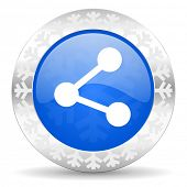 share blue icon, christmas button