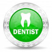 dentist green icon, christmas button