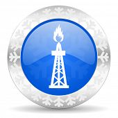 gas blue icon, christmas button, oil sign