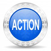 action blue icon, christmas button