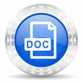 doc file blue icon, christmas button