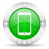 smartphone green icon, christmas button, phone sign
