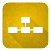 database flat icon, gold christmas button