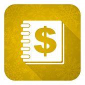 money flat icon, gold christmas button