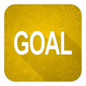 goal flat icon, gold christmas button