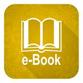 book flat icon, gold christmas button, e-book sign