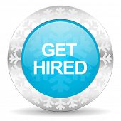 get hired icon, christmas button