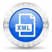 xml file blue icon, christmas button