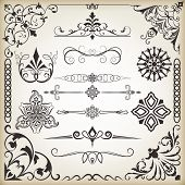 Vintage calligraphic vector design elements isolated on beige background. Set 8.