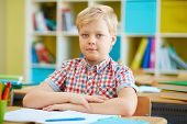 Cute schoolboy looking at camera by desk in classroom