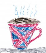 cup of tea with the flag of Britain. children drawing