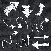 3d chalk arrows on grunge background