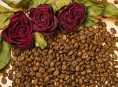 dry red roses on coffee seeds and wooden background