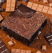 still life of chocolate with chocolate cake