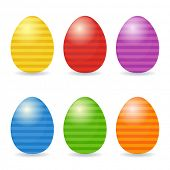 Easter eggs set. Striped eggs in bright colors.