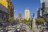 LA PAZ, BOLIVIA, MAY 8, 2014: Main street in La Paz