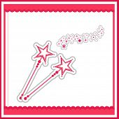 Beautiful fairy concept with magic sticks and red stylish borders on white background.