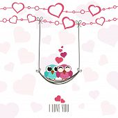Cute owls couple in love, swinging by a hearts decorated rope with I Love You text for Happy Valentine's Day celebration.