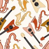 Colorful musical instrument with seamless pattern.