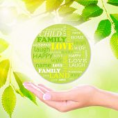 Family concept, family word cloud in hand on green nature background