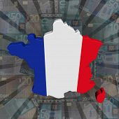 France map flag on euros sunburst illustration