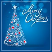 blue greetings card with christmas tree