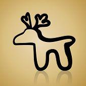 vintage christmas simple deer icon