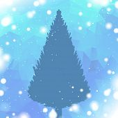 winter background with pine tree silhouette