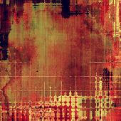 Grunge texture with decorative elements and different color patterns: red; orange; brown; yellow