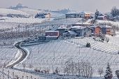 Narrow rural road and small village  among vineyards covered with snow in Piedmont, Northern Italy.