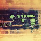 Old grunge textured background. With different color patterns: green; orange; brown; yellow