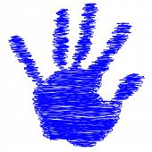 Conceptual blue painted drawing hand shape print or scribble isolated on white paper background