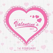 14 February, Happy Valentine's Day celebration greeting card with pink hearts.