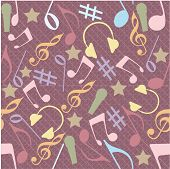 Musical seamless pattern with musical instrument and notes.
