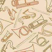 Musical seamless pattern with musical instrument.