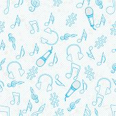 Musical instrument and musical notes with seamless pattern.