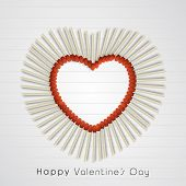 Stylish heart made by match stick for Happy Valentine's Day celebration on notebook paper background.