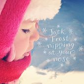 Inspirational Typographic Quote - Baby girl outside in snow