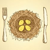 Sketch Nest Plate With Fork And Knife In Vintage Style